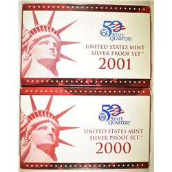 2000 & 01 U.S. SILVER PROOF SETS IN ORIG BOXES/COA
