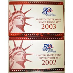 2002 & 03 U.S. SILVER PROOF SETS IN ORIG BOXES/COA