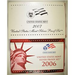 2006 & 07 U.S. SILVER PROOF SETS IN ORIG BOXES/COA