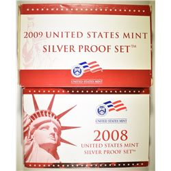 2008 & 09 U.S. SILVER PROOF SETS IN ORIG BOXES/COA