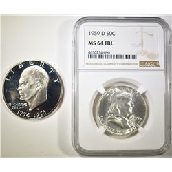 1959-D FRANKLIN HALF DOLLAR  NGC MS-64 FBL &