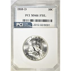 1959-D FRANKLIN HALF DOLLAR PCI SUPERB GEM FBL