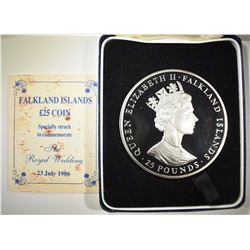 1986 25 POUNDS SILVER FALKLAND ISLANDS