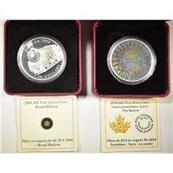 2 ROYAL CANADIAN SILVER COINS: