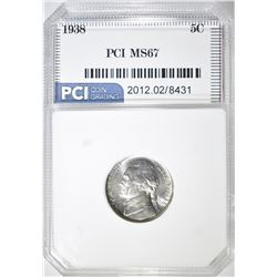 1938 JEFFERSON NICKEL  PCI SUPERB GEM
