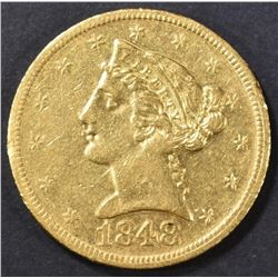 1848-D $5 GOLD LIBERTY HEAD  AU/BU