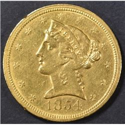 1854-O $5 GOLD LIBERTY HEAD  CH AU/BU