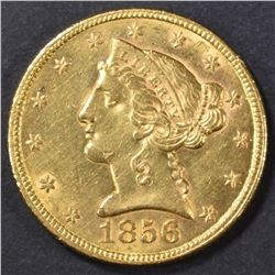 1856 $5 GOLD LIBERTY HEAD  NICE BU   OLD CLEANING