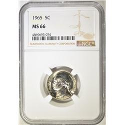 1965 JEFFERSON NICKEL NGC MS-66