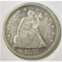 1875-S 20 CENT PIECE VG CLEANED