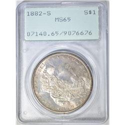 1882-S MORGAN DOLLAR, PCGS MS-65 RATTLER HOLDER