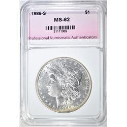 1886-S MORGAN DOLLAR, PNA BU