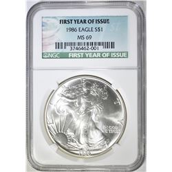 1986 AMERICAN SILVER EAGLE,. NGC MS-69