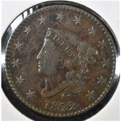 1822 LARGE CENT, XF NICE