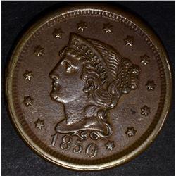 1850 LARGE CENT, AU/BU