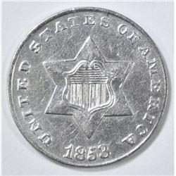 1853 3 CENT SILVER AU/BU