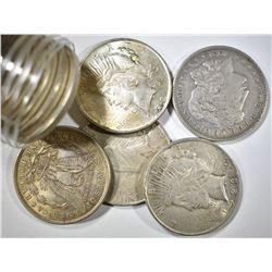10-MIXED MORGAN & PEACE DOLLARS, XF/AU