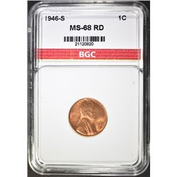 1946-S LINCOLN CENT, BGC SUPERB GEM BU+ RED