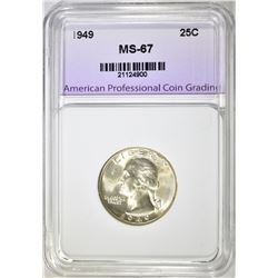 1949 WASHINGTON QUARTER, APCG SUPERB GEM BU