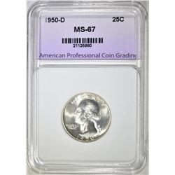 1950-D WASHINGTON QUARTER, APCG SUPERB GEM BU