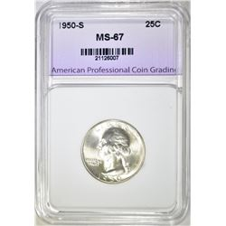 1950-S WASHINGTON QUARTER, APCG SUPERB GEM BU