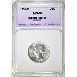 1959-D WASHINGTON QUARTER, APCG SUPERB GEM BU