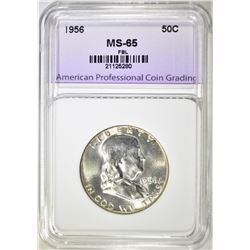 1956 FRANKLIN HALF DOLLAR, APCG SUPERB GEM BU FBL