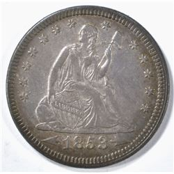 1853 ARROWS & RAYS SEATED QUARTER XF