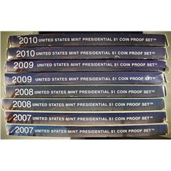 2-2007, 2-08, 2-09 & 2-10 U.S. PRES DOLLAR PF SETS