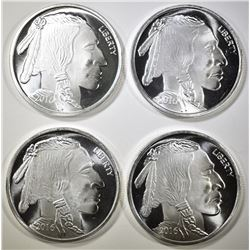 4-INDIAN/BUFFALO ONE OUNCE SILVER ROUNDS
