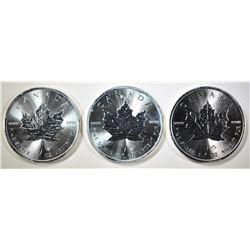 3-GEM BU 2014 CANADA SILVER MAPLE LEAF COINS