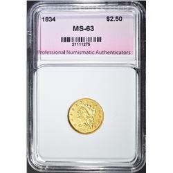 1834 $2.50 GOLD LIBERTY, PNA CH BU