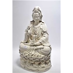 "Large Chinese blanc de chine seated figure ""Lady of Mercy"", 18 1/2"" in height"