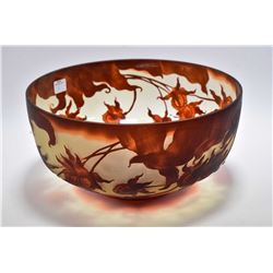 "Galle style glass bowl 11 1/2"" in diameter"