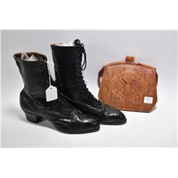 Pair of antique Victorian leather boots and a hand tooled antique leather purse