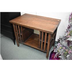 Antique oak library table with under storage, note missing drawer
