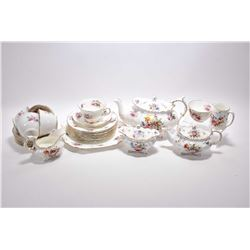 Hammersley bone china tea service including large tea pot, small tea pot, open cream and sugar, smal