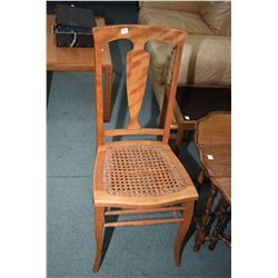 Pair of mid 20th century side chairs with rattan seats