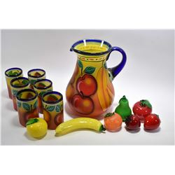 Fruit motif oversized glass lemonade pitcher with six matching glasses and seven pieces of glass fru