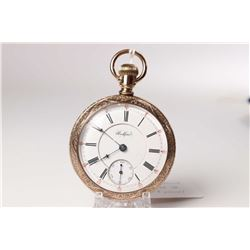 Rockford size 18 pocket watch, 15 jewels, grade 87, serial #370943, dates to 1891. With full gilt pl