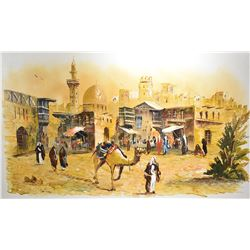 Large framed acrylic on canvas painting of a middle eastern market scene signed by artist Salman, 24