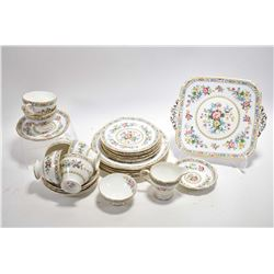 "Selection of Foley ""Ming Rose"" bone china including servings for six of sandwich and side plates, te"