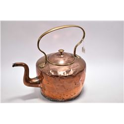 "Antique copper and brass hand hammered oversized kettle, 13"" from base to top of handle"