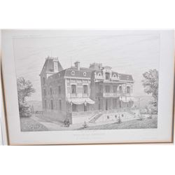 "Six antique framed architectural engravings including ""Villa A Pau- (Basses Pyreness)"", ""Villa Pres"