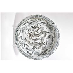 "Large black and white dragon charger 16"" in diameter"