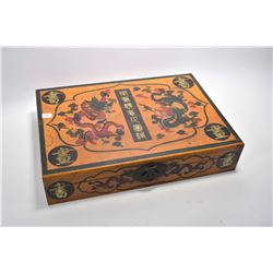 "Decorative lacquered wooden scroll box 20"" X 14"" X 4"""