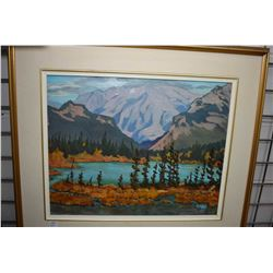 "Framed oil on board painting titled and signed on verso ""Crimson (Banff), Mary Pemberton"" and initia"