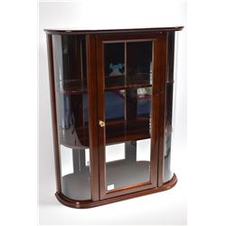 Bombay wall mount cabinet with three shelves and curved glass sides, glass front and mirrored back 2