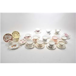 Fifteen china cups and saucers including Shelley, Tuscan, Grafton, Paragon etc. plus three small min