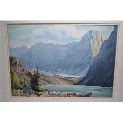 "Framed original watercolour painting of a mountainous lake scene signed by artist M. Shelton, 14"" X"